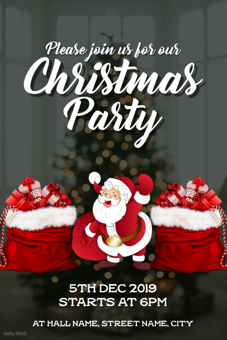 Christmas Party invite Poster template