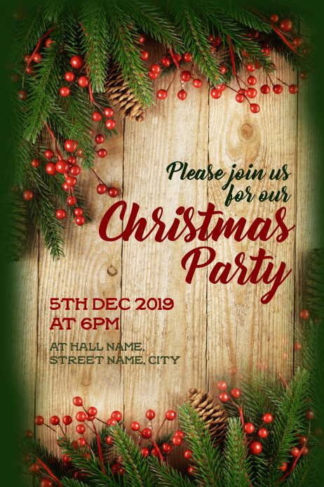 Christmas Party invite 海报 template