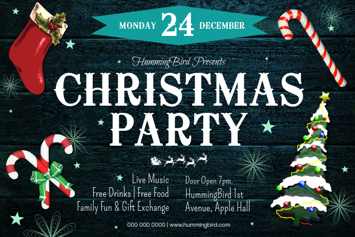 Christmas Party Landscape Poster template