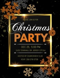 christmas party song video template Volantino (US Letter)