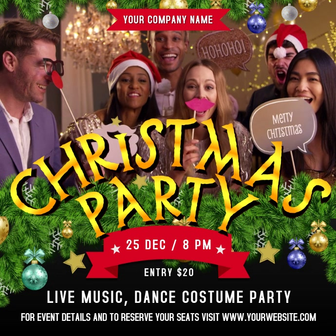 Christmas Party Square Video Quadrado (1:1) template