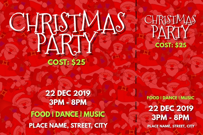 Christmas party tickets ป้าย template