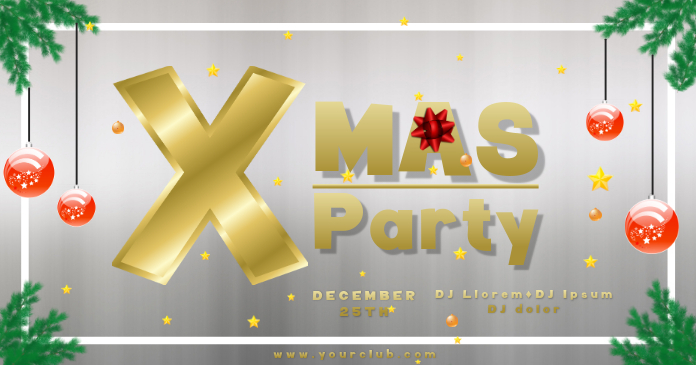 Christmas party x-mas facebookevent flyer tem