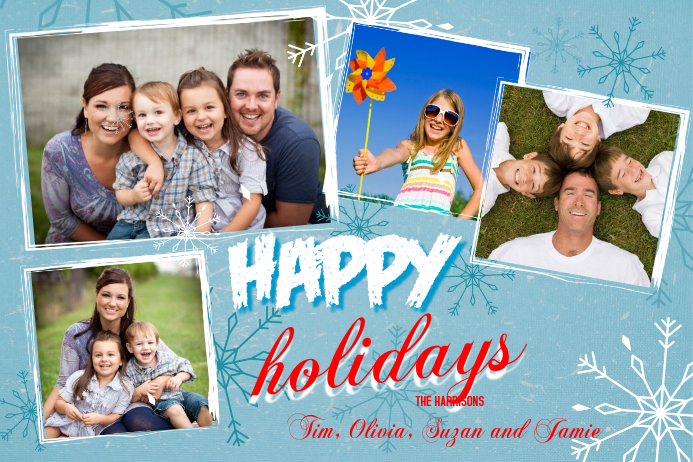 Christmas Photo Collage Template Poster