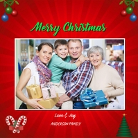 Christmas Photo Greeting Card Square (1:1) template