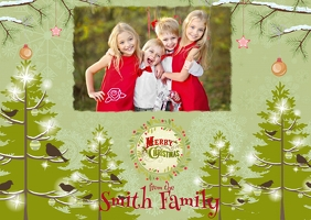 Christmas Photo Postcard Открытка template