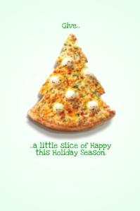 Christmas Pizza Food Restaurant Holiday X-Mas Tree Retail Ad