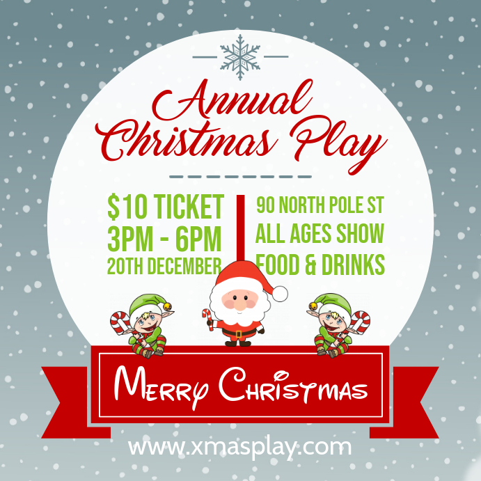 Christmas Play Online Invitation Advert Pos Instagram template