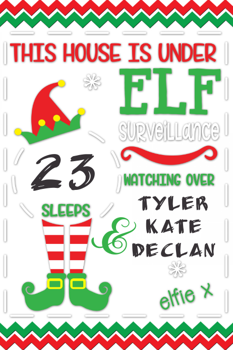 Christmas Poster Elf Surveillance Christmas Countdown flyer