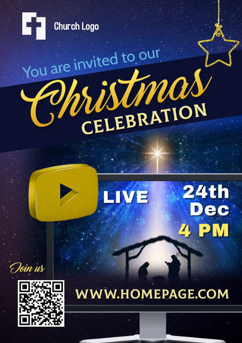 Christmas Poster - Live Celebration A4 template