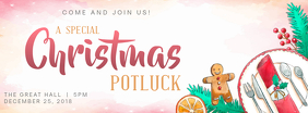 Christmas Potluck Dinner Invitation Facebook Cover template