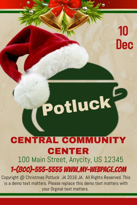 Christmas Potluck.Christmas Potluck Template Postermywall
