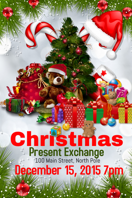 christmas present exchange template postermywall