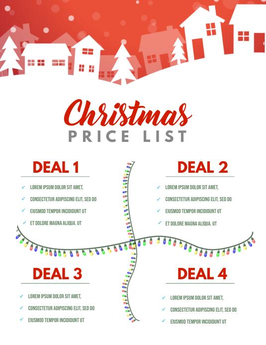 Christmas Price list Template