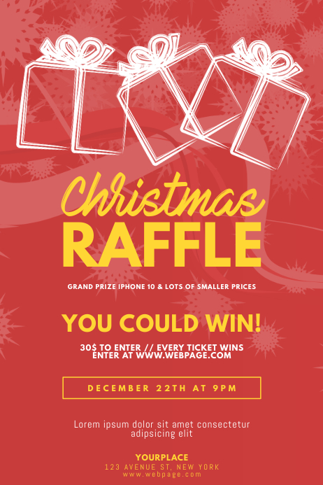christmas raffle flyer template postermywall
