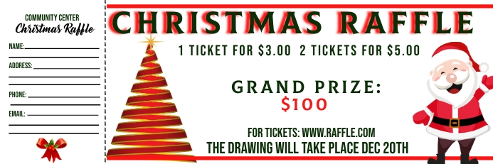 Christmas Raffle Ticket Banner 2 x 6 fod template