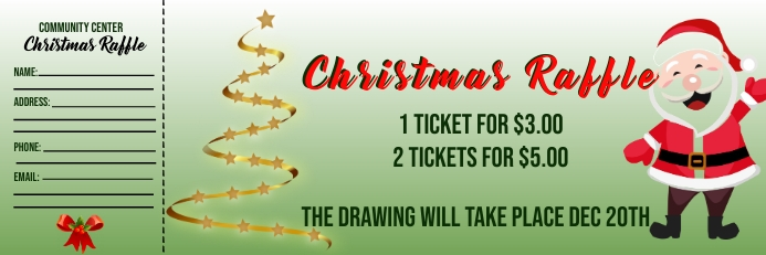 Christmas Raffle Ticket Cartel de 2 × 6 pulg. template