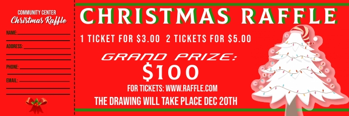 Christmas Raffle Ticket Banner 2 × 6' template