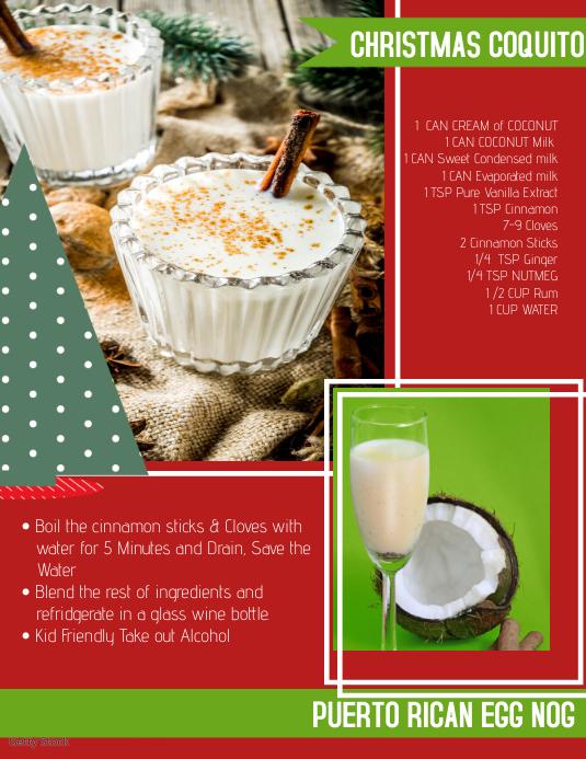 Christmas Recipe Coquito Рекламная листовка (US Letter) template