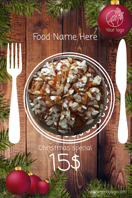 Christmas Restaurant dish meal promotion flyer template