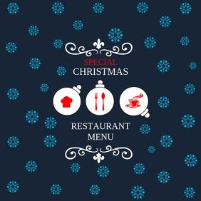 Christmas restaurant menu poster template Square (1:1)
