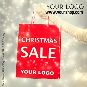 Christmas Sale Advertising Snow Shopping Bag