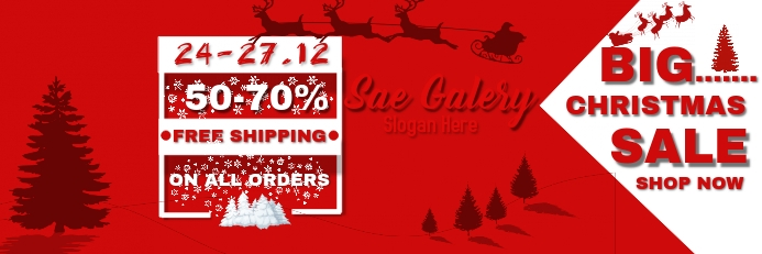 Christmas Sale Banner Template 横幅 2' × 6'