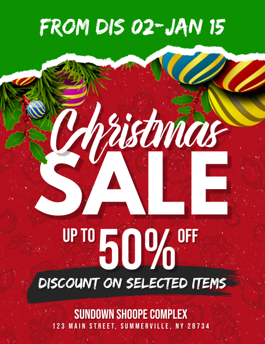 christmas sale flyer template postermywall