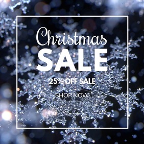 Christmas Sale Glitter Snow Flakes Crystal Ad