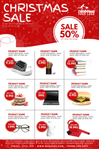 Christmas Sale Product catalogue Flyer Template Poster