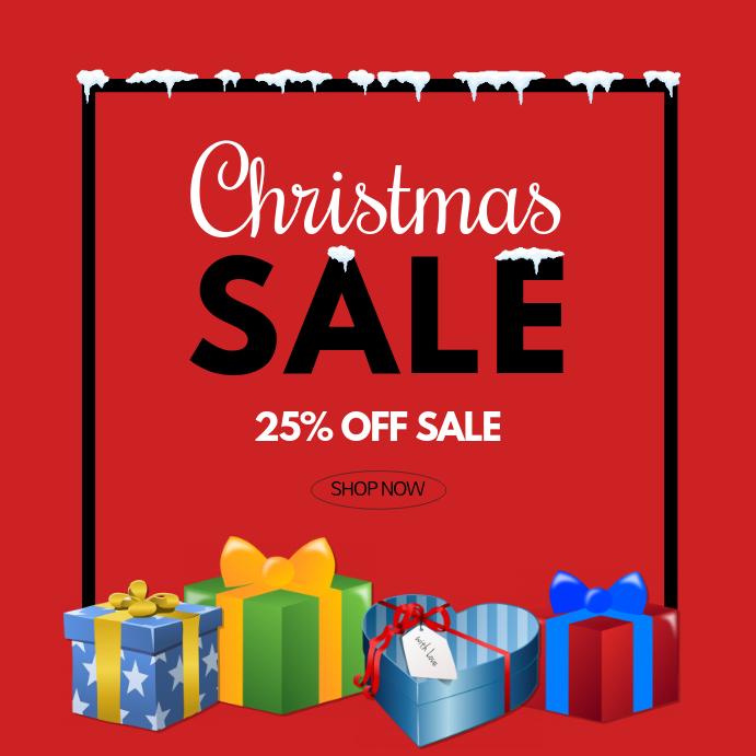 christmas Sale square % discount advert shop
