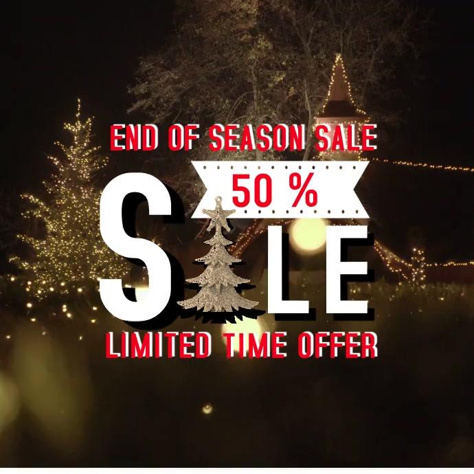 Christmas Sale Square Banner Video Ad Quadrato (1:1) template