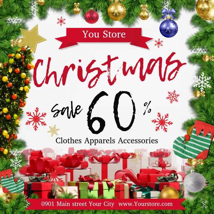 Christmas Sale Square Video Kwadrat (1:1) template