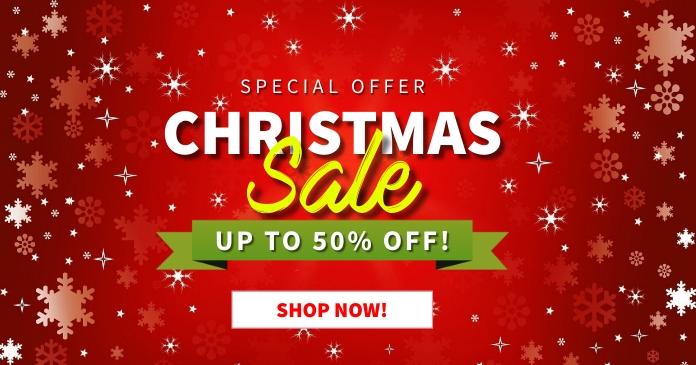 Christmas Sale Up to 50% Off auf Facebook geteiltes Bild template