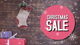 Christmas Sale video Snow Promo Offer Ad Gift Wood template