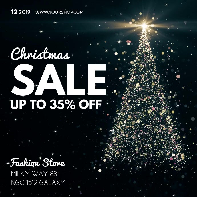 Christmas Sale video Square Tree Glitter Glam