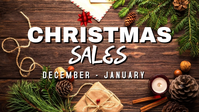 Christmas sales post ad Ekran reklamowy (16:9) template