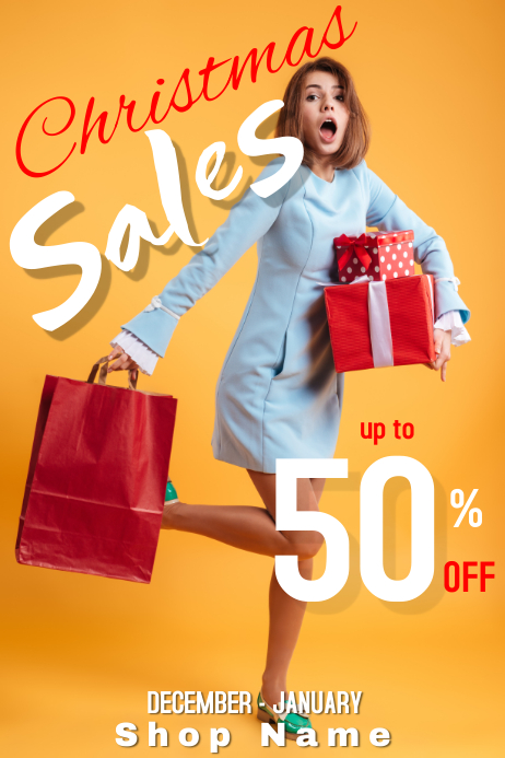 Christmas sales poster advertisement 50 % off template