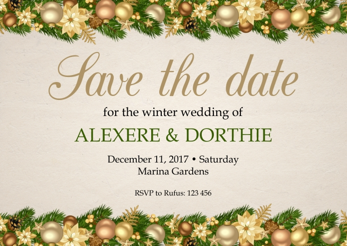 Christmas save the date wedding postcard template