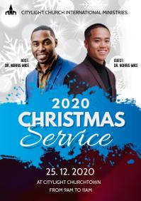 christmas service church flyer A3 template