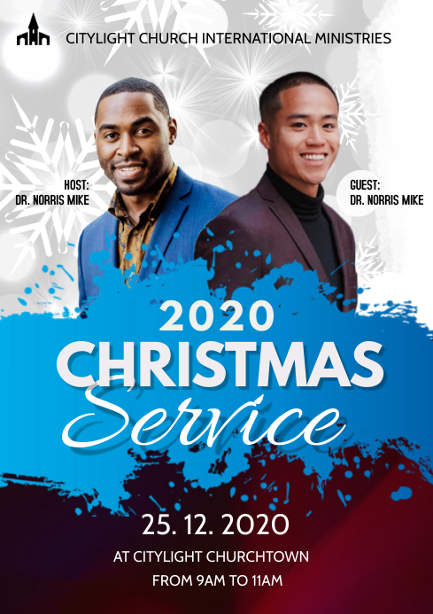 christmas service church flyer A3 template