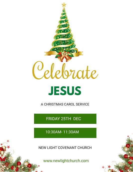 Christmas Service flyer Pamflet (Letter AS) template