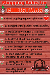 Christmas Shopping Rules Poster