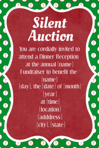Christmas Silent Auction Fundraiser Invitation Dinner Dance