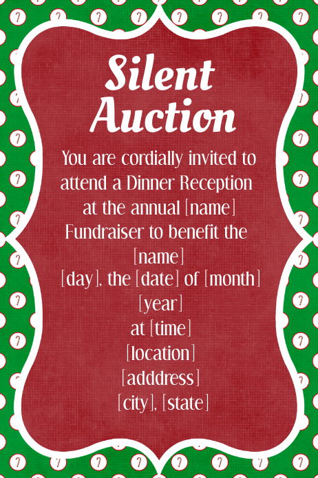 Christmas Silent Auction Fundraiser Invitation Dinner Dance Template