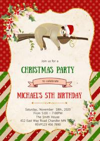 Christmas sloth birthday party invitation