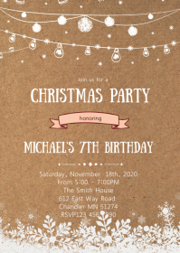 Christmas snowflake birthday party invitation