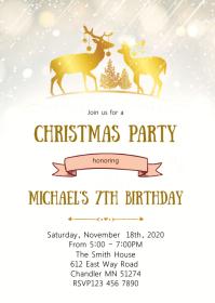 Christmas snowflake birthday party invitation