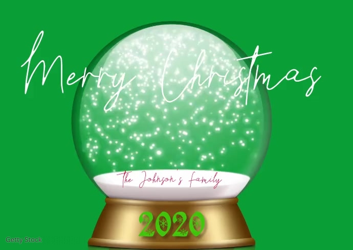 Christmas Snowglobe Family Photo Video Postcard template
