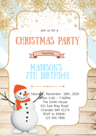 Christmas snowman birthday party invitation